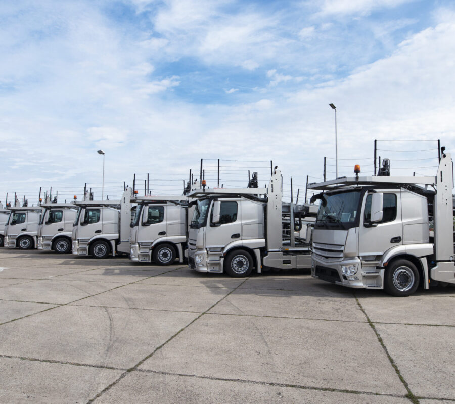 Group of trucks parked in line at truck stop.